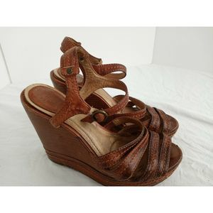 FRYE Corrina Leather Ankle Strap Wedge Sandals 6.5